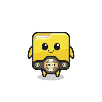 La mascotte de dossier de combattant mma avec une ceinture, un design de style mignon pour un t-shirt, un autocollant, un élément de logo
