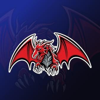Mascotte de dragon en colère pour les jeux d'esport