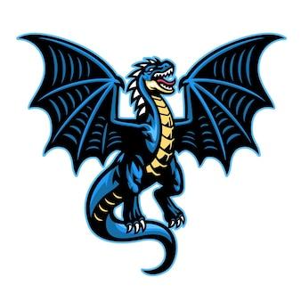 Mascotte de dragon déployant les ailes