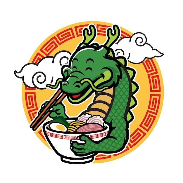 La mascotte de dragon de dessin animé mange des ramen
