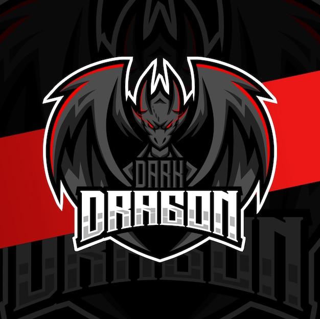 Mascotte dragon noir esport logo