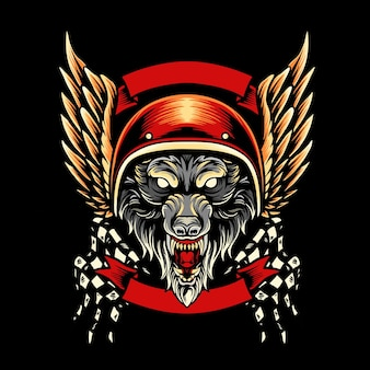 Mascotte du club de moto de loup