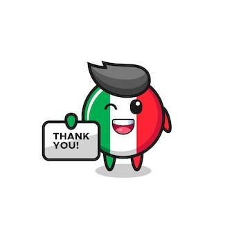 La mascotte du drapeau italien tenant une bannière qui dit merci, design de style mignon pour t-shirt, autocollant, élément de logo