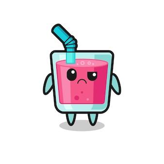 La mascotte du jus de fraise au visage sceptique, design de style mignon pour t-shirt, autocollant, élément de logo