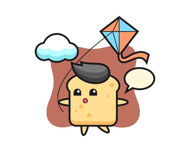 La mascotte du pain joue au cerf-volant