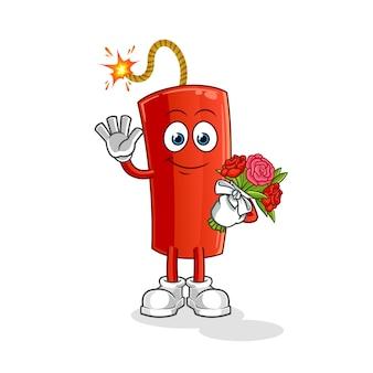 Mascotte de dynamite au bouquet. dessin animé