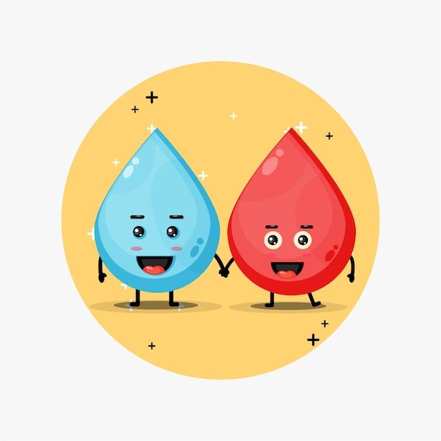 Mascotte d'eau et de sang mignon se tenant la main