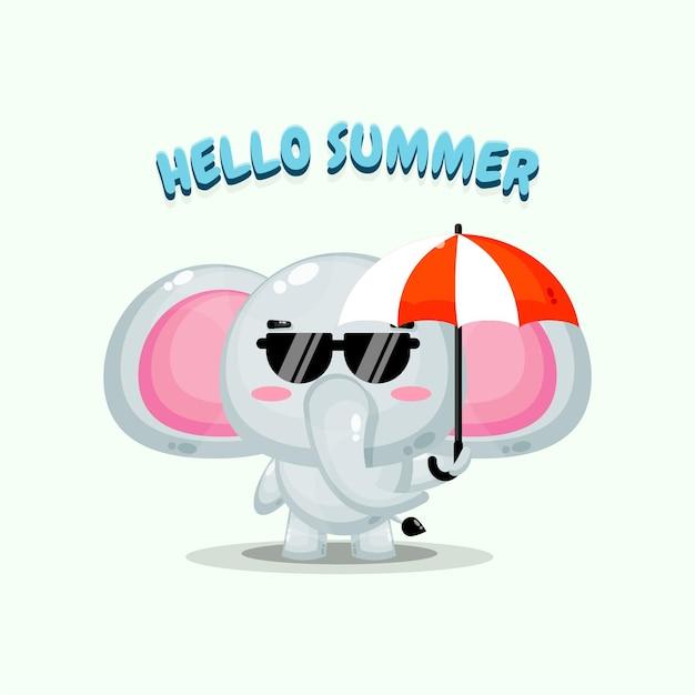 Mascotte d'éléphant mignon portant un parapluie avec des salutations d'été