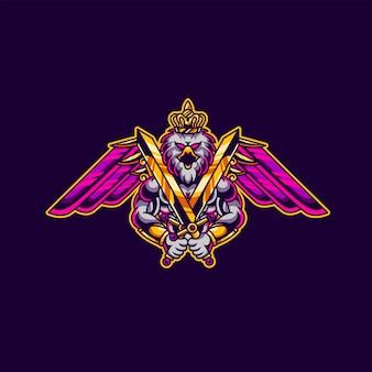 Mascotte d'épée aigle x excalibur et logo de jeu esport