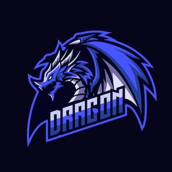 Mascotte d'esport blue ice dragon