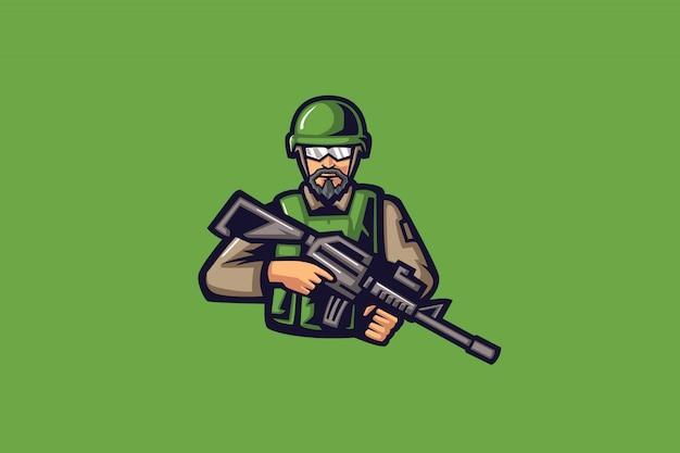 Mascotte esport chasseur vert