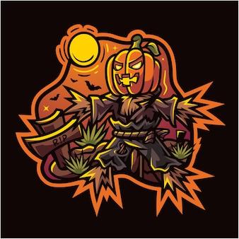 Mascotte d'esport citrouille épouvantail halloween