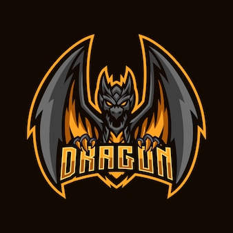 Mascotte esport dragon noir en colère