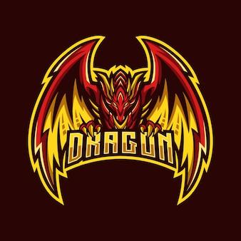 Mascotte d'esport dragon rouge feu