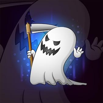 La mascotte esport de la faucheuse fantôme souriante de l'illustration