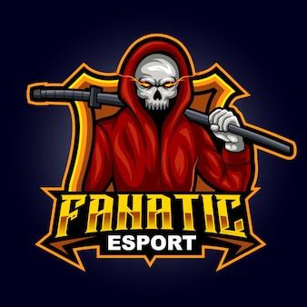 Mascotte fâchée d'assassin de fantôme pour l'illustration de vecteur de logo de sports et d'esports