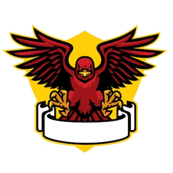 Mascotte de faucon déployant les ailes