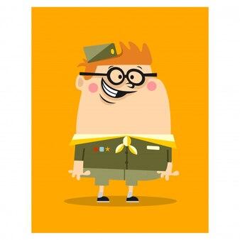 Mascotte de la faune animale mignonne petit scout nerd boy