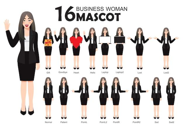 Mascotte de femme d'affaires en costume noir, style de personnage de dessin animé pose illustration