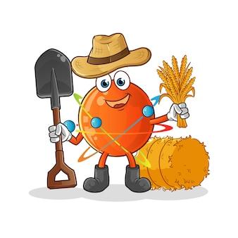 Mascotte de fermier atom.