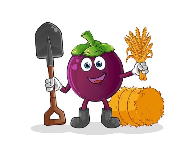Mascotte de fermier de mangoustan. dessin animé