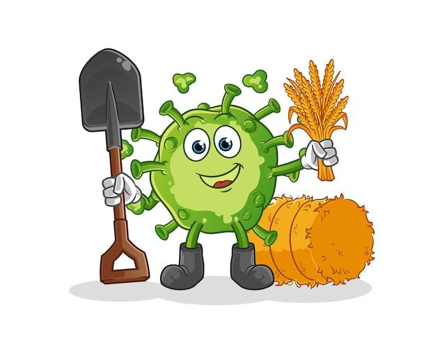Mascotte de fermier de virus