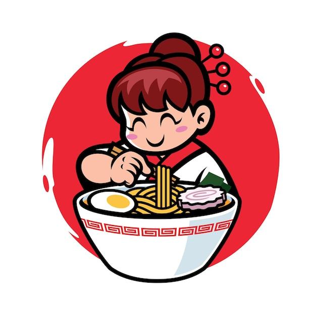 La mascotte d'une fille japonaise mange des ramen avec le mot japonais qui signifie délicieux