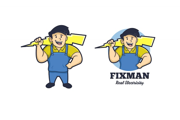 Mascotte fixman electricity logo