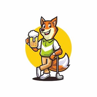 Mascotte fox golfing drinking beer