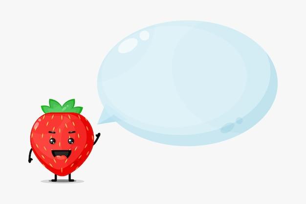 Mascotte de fraise mignonne avec discours de bulle