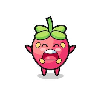 Mascotte de fraise mignonne avec une expression de bâillement, design de style mignon pour t-shirt, autocollant, élément de logo