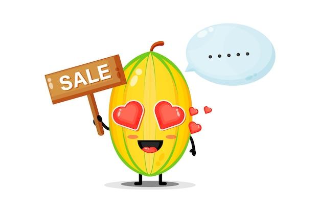Mascotte de fruits étoiles mignonne avec le signe des ventes