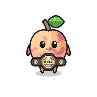 La mascotte de fruits pluot de combattant mma avec une ceinture, un design de style mignon pour un t-shirt, un autocollant, un élément de logo