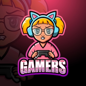 Mascotte de gamer girl esport