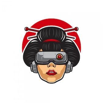 Mascotte de geisha cyberpunk