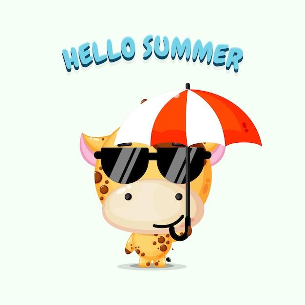 Mascotte De Girafe Mignonne Portant Un Parapluie Avec Des Salutations D'été Vecteur Premium