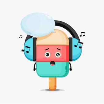 Mascotte de glace mignonne écoutant de la musique
