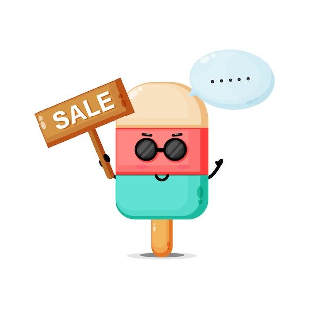 Mascotte de glace mignonne avec le signe des ventes