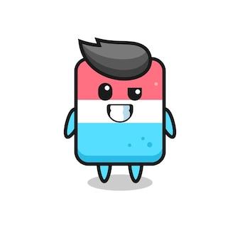 Mascotte de gomme mignonne avec un visage optimiste, design de style mignon pour t-shirt, autocollant, élément de logo