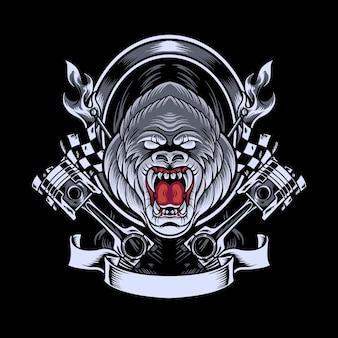 Mascotte de gorille automobiliste