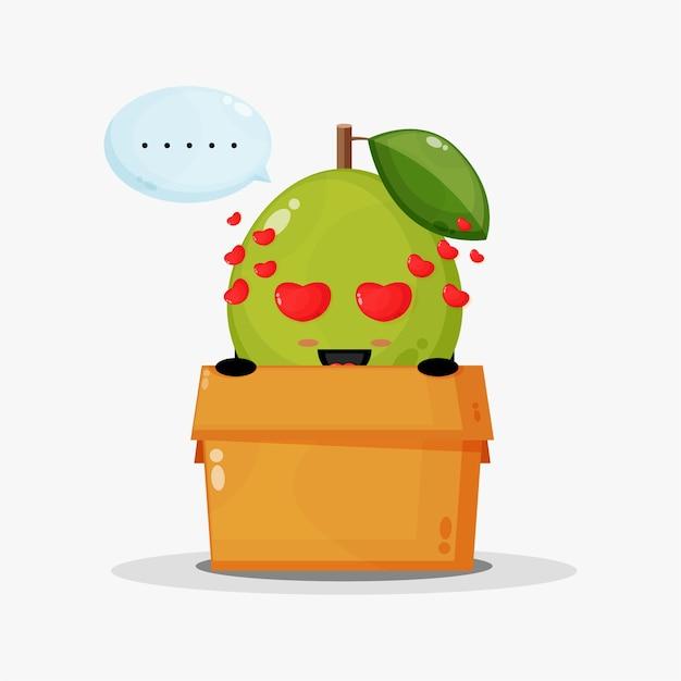 Mascotte de goyave mignonne dans la boîte