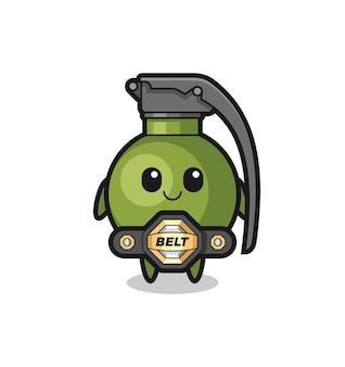 La mascotte de grenade de combat mma avec une ceinture, un design de style mignon pour un t-shirt, un autocollant, un élément de logo