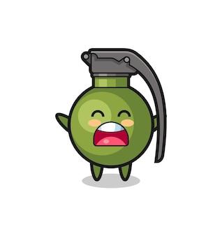Mascotte de grenade mignonne avec une expression de bâillement, design de style mignon pour t-shirt, autocollant, élément de logo