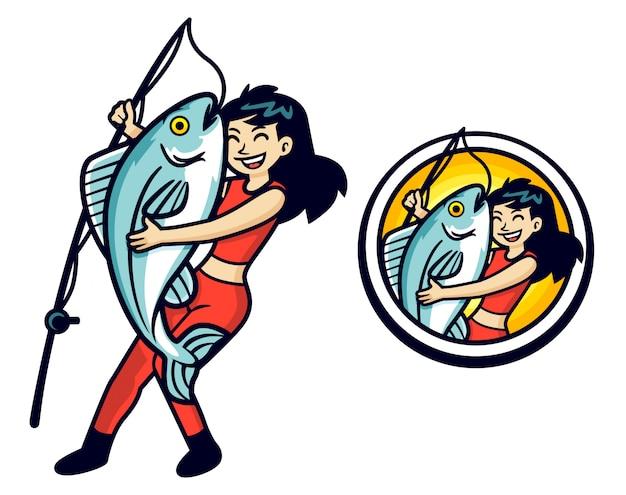 Mascotte de gros poisson de dessin animé