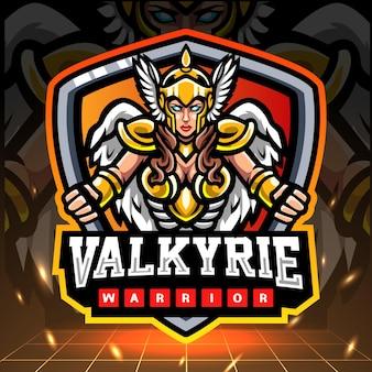 Mascotte de guerrier valkyrie. création de logo esport.