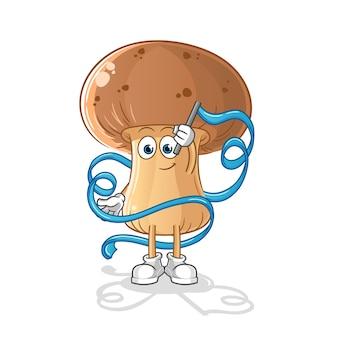 Mascotte de gymnastique rythmique aux champignons. dessin animé