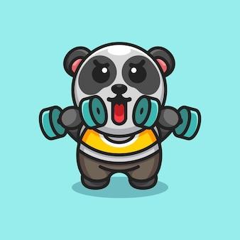 Mascotte D'haltères De Levage De Panda Mignon Vecteur Premium