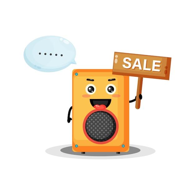 Mascotte de haut-parleur mignon avec le signe de vente