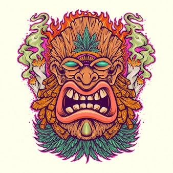 Mascotte d'herbe de feuille de tiki en colère avec de la fumée de cannabis