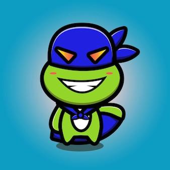 Mascotte de héros de tortue mignonne cartoo